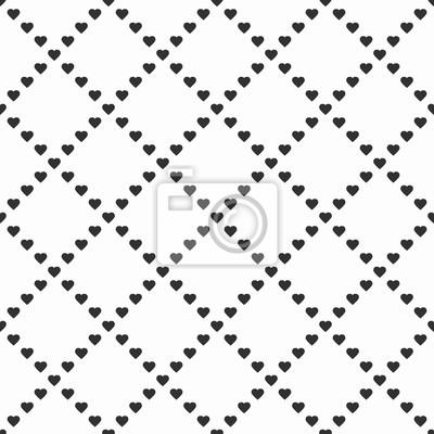 Corazones En Blanco Y Negro Ilustración Vectorial Sin Fisuras
