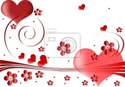 Corazones Y Flores De Color Rojo De Diseño Fotomural Fotomurales