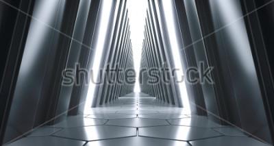 Fotomural Corredor realista realista futurista de ciencia ficción con luces blancas y reflejos. Renderizado 3D
