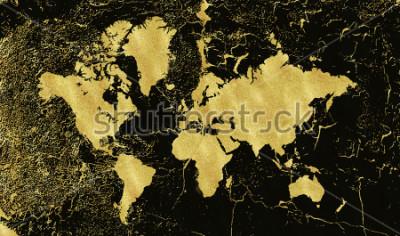 Fotomural Correspondencia del oro de la vendimia en fondo negro. Usar textura, grunge, pátina dorada. Plantilla para tarjetas, invitación de boda, carteles, blogs, sitio web y más