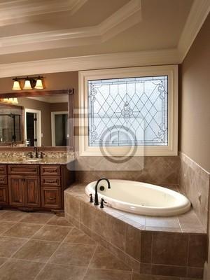 Cuarto de baño de lujo con stained glass fotomural • fotomurales ...