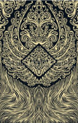 Fotomural Cubrir adornos patrón jugando a las cartas o libro. Alas adornadas en fondo negro. Ilustración de dibujado a mano vintage floral. Motivo victoriano. Banner retro, invitación, invitación de boda, reser