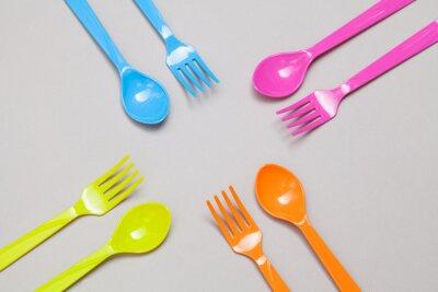 Fotomural cuchara y tenedor de plástico, el intercambio de