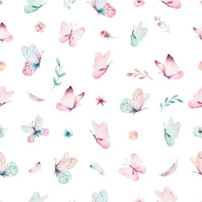 Fotomural Cute acuarela unicornio de patrones sin fisuras con flores. Los patrones de unicornio mágico de guardería. Princesa arco iris textura. Moda pony caballo de dibujos animados de color rosa.