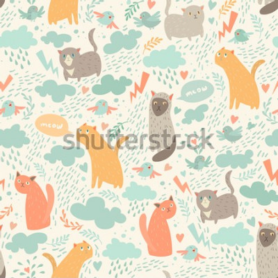 Fotomural Cute cats vector seamless pattern. With hearts, birds, leaf