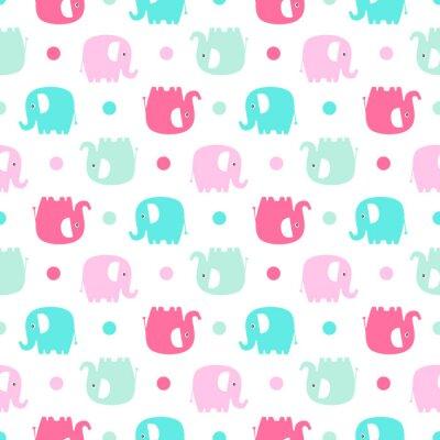 Fotomural Cute elefante plano. Vector patrón sin fisuras con elefantes de color diversión silueta y puntos. Fondo dulce para los bebés y los niños. Colores en colores pastel - rosa y verde sobre fondo blanco.