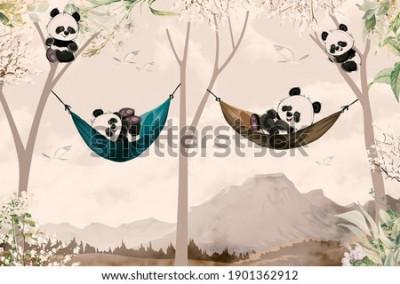Fotomural cute pandas lying in hammock for child room wallpaper design