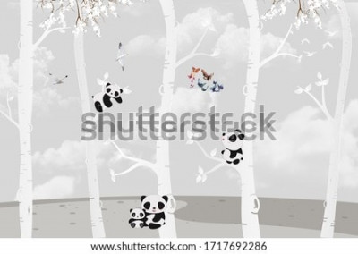 Fotomural Cute pandas playing in the jungle