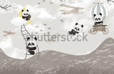 Fotomural cute pandas playing in the sky kids room wallpaper design
