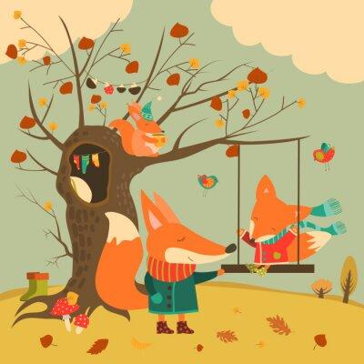Fotomural Cute zorros paseo en un columpio en el bosque de otoño