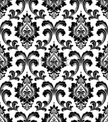 Fotomural Damasco patrón floral sin fisuras. Papel tapiz real. Flores sobre un fondo blanco y negro.