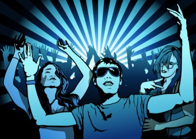 Fotomural Dancing People on Disco Party - Illustration, Vector