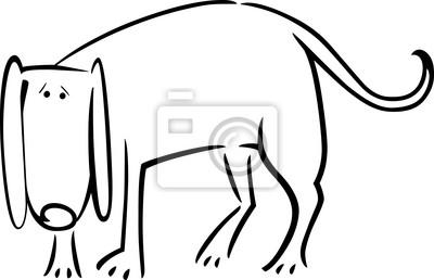 De Dibujos Animados Dibujo De Perro Triste Para Colorear Fotomural