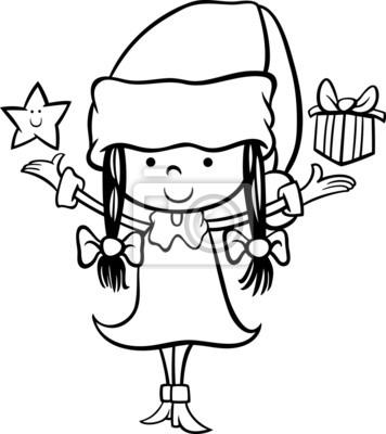 De santa para colorear de dibujos animados chica claus fotomural ...