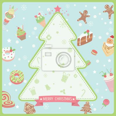 Postres Para Una Feliz Navidad.Fotomural Decoracion Del Arbol De Navidad Con Los Ornamentos Del Postre