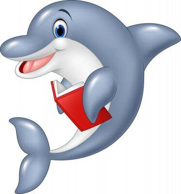 Fotomural Delfín de dibujos animados explotación libro aislado sobre fondo blanco