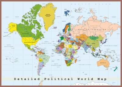 Fotomural Detallado mapa del mundo político