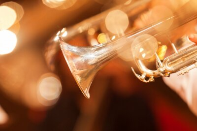 Fotomural Detalle de la trompeta closeup en tonos dorados