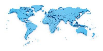 Fotomural Detalle el mapa del mundo con las fronteras nacionales, 3d