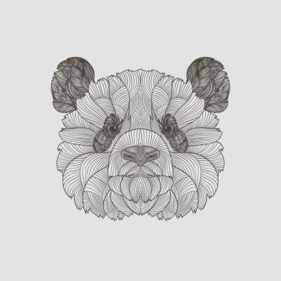 Fotomural Detalle zentangle. Boho dibujado a mano dibujo panda retrato. Ilustración del vector.