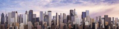 Fotomural Día panorama de la ciudad / 3D de la ciudad moderna durante el día bajo el cielo brillante