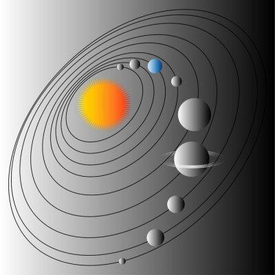 Fotomural Diagrama del sistema solar. Ilustración de la estructura del Sistema Solar. Tierra del planeta azul.
