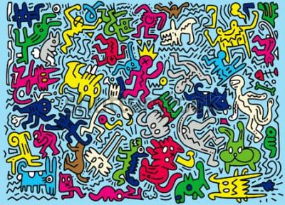 Fotomural Dibujado a mano ilustración vectorial de Doodle animal gracioso, ilustrador herramientas de línea de dibujo, diseño plano