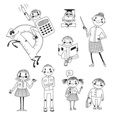Fotomural Dibujado a mano maestra y escolares.