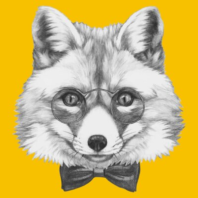 Fotomural Dibujado a mano retrato de Fox con gafas. Vector aislados elementos.