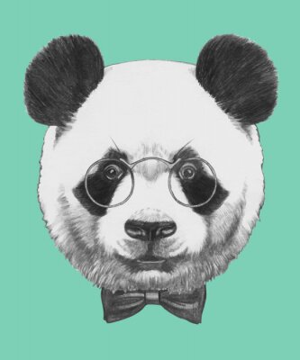Fotomural Dibujado a mano retrato de la panda con gafas y pajarita. Vector aislados elementos.
