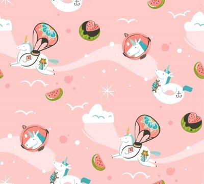 Fotomural Dibujado a mano vector abstracto creativo dibujos animados ilustraciones de patrones sin fisuras con unicornios cosmonauta con tatuaje de la vieja escuela, cometas y planetas en el cosmos aislado sobr