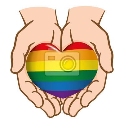 Dibujando Manos Juntas Entregando Un Corazón Lgbt Gay Caucásico