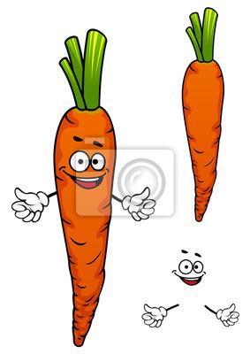 Dibujo Animado Colorido Personaje De Verduras Zanahoria Fotomural