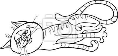 Dibujo Animado Del Gato Feliz Para Colorear Fotomural Fotomurales