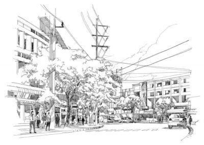 Fotomural dibujo boceto de street.Illustration ciudad.