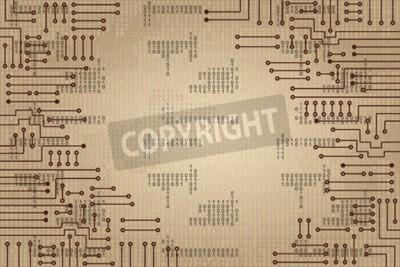 Fotomural Dibujo de circuito electrónico moderno y código binario