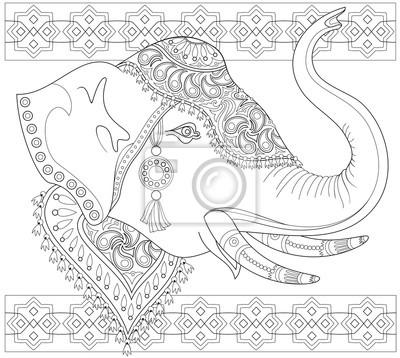 Dibujo de fantasía de cabeza de elefante con adornos indios ...