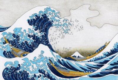 Fotomural Dibujo de Hokusai The Great Wave Of Kanagawa para adultos