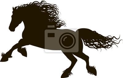 Dibujo De La Silueta De Negro De Caballo Corriendo Sobre Un Fondo