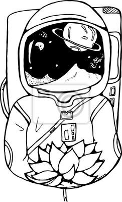 Dibujo En Blanco Y Negro De Un Astronauta Con Un Loto En Sus
