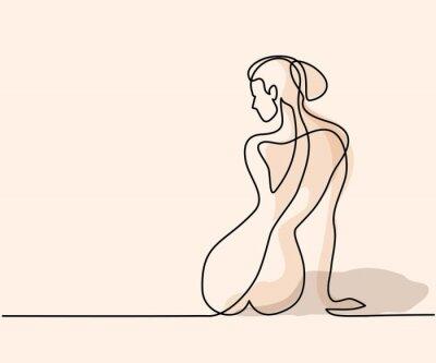 Fotomural Dibujo lineal continuo. Mujer que se sienta detrás. Soft ilustración vectorial de color
