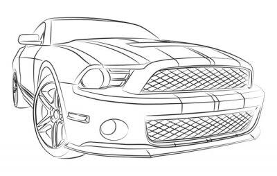 Fotomural Dibujo moderno muscle car