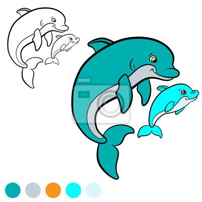 Dibujo Para Colorear Color Mi Delfin Fotomural Fotomurales