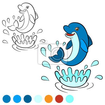 Dibujo para colorear. color mí: delfín. fotomural • fotomurales ...