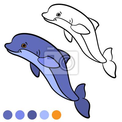 Dibujo para colorear. color mí: delfín. pequeño delfín lindo ...