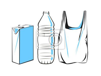Dibujo Vectorial De Un Cartón De Plástico Botella Y Bolsa Fotomural