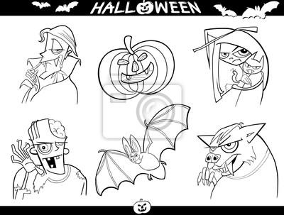 Dibujos animados de halloween temas para colorear fotomural ...