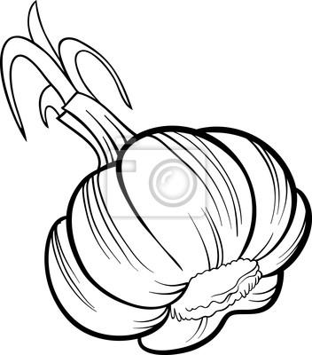 Dibujos Animados De Verduras Ajo Para Libro Para Colorear