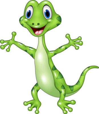 Fotomural Dibujos animados divertida lagarto verde posando aislado sobre fondo blanco