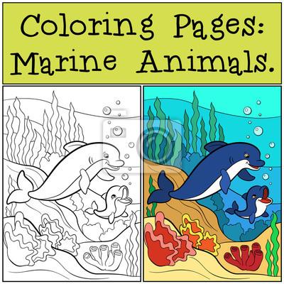 Dibujos para colorear: animales marinos. el delfín de la madre ...